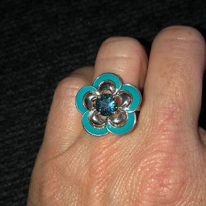 Sterling silver London blue topaz blue enamel